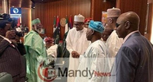 dxgnkkowwaagj8a1590269325 Obasanjo And Buhari Meet, Shake Hands At Council Of State Meeting (Photos)