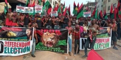 8738786 1 jpgf3ccdd27d2000e3f9255a7e3e2c48800667356064 - Photos From IPOB Election Boycott Campaign In Anambra Today