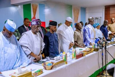 8800008 fbimg1550496610625 jpeg1cd9a6be7ab593012edeee381603f2a1 - Buhari, Tinubu, Oshiomhole, Amaechi, Others At APC Caucus Meeting In Abuja (Pix)