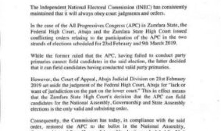 8837192_img20190222wa0004_jpegff86d6234a59bbe334541e25ddc2552b-724x430 BREAKING NEWS: INEC Includes Zamfara APC Candidates On The Ballot