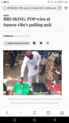 8846749 screenshot20190223150822 jpeg3f59c5b635800478b55422b76534a011 - PDP Wins At Sanwo-Olu's Polling Unit