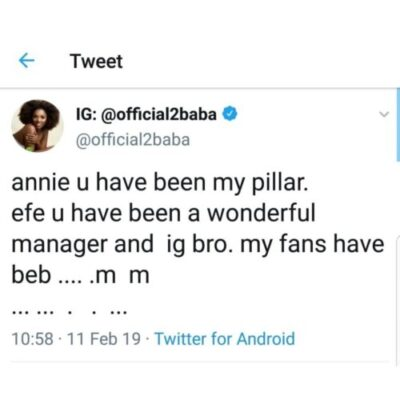 dzhiuiawwaaofc0799529960 - 2face Apologizes To Wife, Annie Idibia For Disappointing Her (See Tweets)