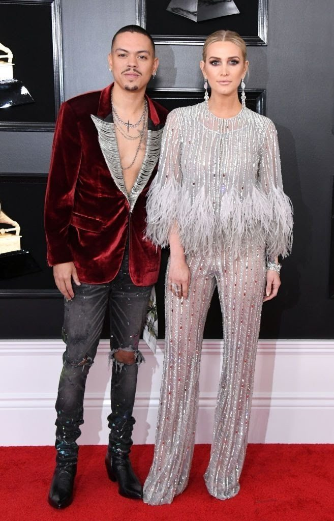 evan-ross-and-ashlee-simpson-attend-the-61st-annual-grammy-news-photo-1128775134-15498428321477200187 All Grammys 2019 Red Carpet Celebrity Dresses & Looks (Photos)
