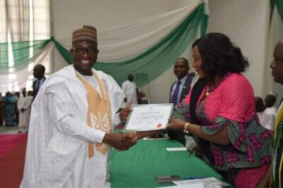 9066818 img20190327140742 jpegdc0a88081fd287411e6b89a4130580da - INEC Presents Certificates Of Return To Governor Sani Bello Of Niger State