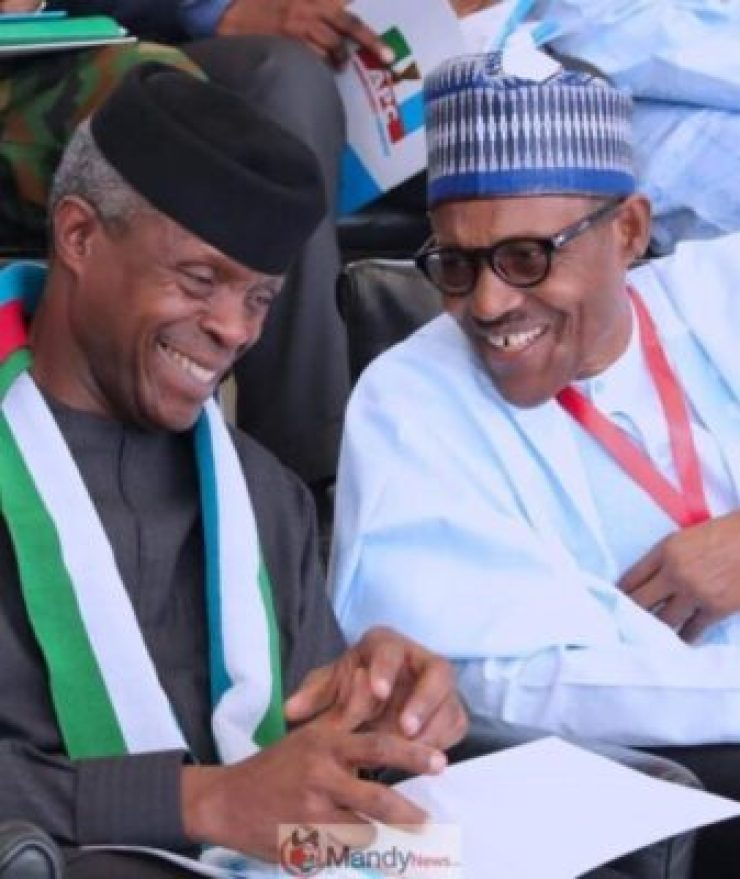 Buhari and Osinbajo laughing