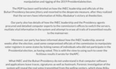 Press Statement PDP Alerts As INEC Replaces Servers Across States To conceal Rigging