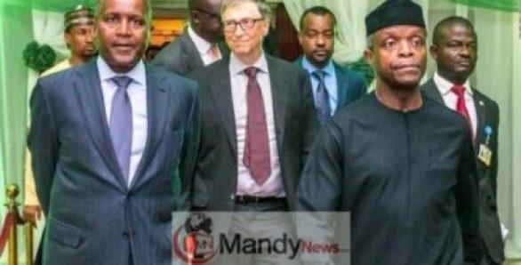Dangote-Bill-Gate-and-Osinbajo Bill Gates Tells Buhari To 'Face Facts' So They Can Make Progress