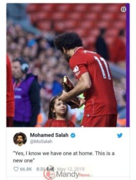 9379077_screenshot20190512211531_jpegccc19b7dd3104af9d32774c628982838 Liverpool Star Mohamed Salah Celebrates Golden Boot Win With Hilarious Tweet