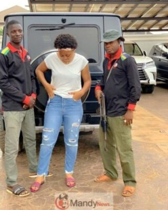 Actress Regina Daniels Poses With Her Armed Bodyguards