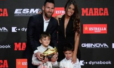 Messi and family - Lionel Messi Wins Sixth Golden Shoe Award (P