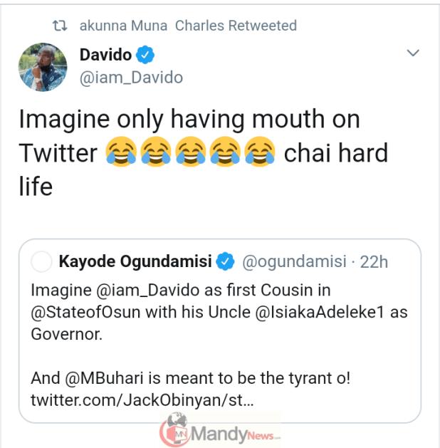 Screenshot_20191030-194351 Davido Fires Back At Buhari Supporters, Kayode Ogundamisi
