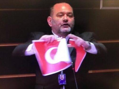 Ioannis Lagos tearing Turkish flag in the EU parliament