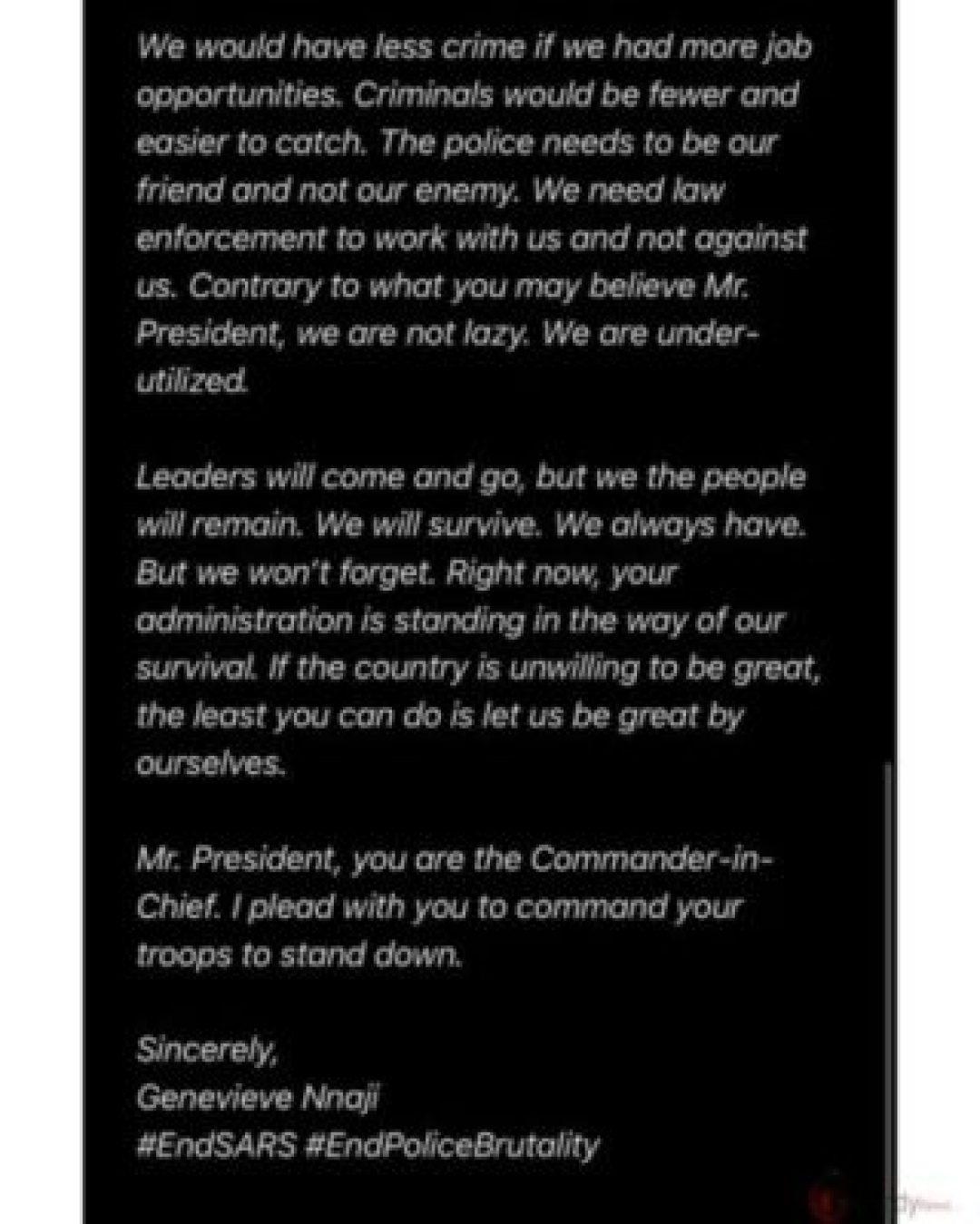 EndSARS: Genevieve Nnaji Writes An Open Letter To President Buhari