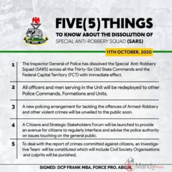 Nigeria police dissolve SARS