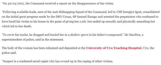 Police statement on Hiny Umoren case