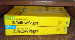 """""""Auckland Yellow pages"""" by Andrew Sullivan Kabl00ey - Own work. Licensed under CC BY-SA 3.0 via Wikimedia Commons - https://commons.wikimedia.org/wiki/File:Auckland_Yellow_pages.jpg#/media/File:Auckland_Yellow_pages.jpg"""