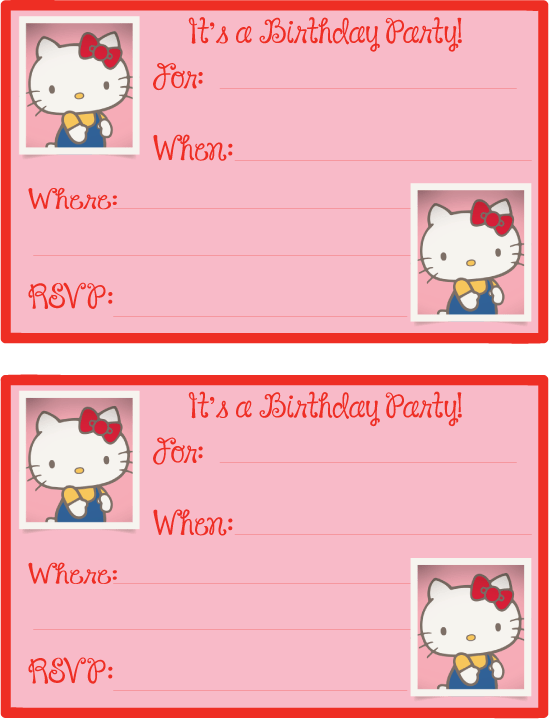 Hello Kitty Printables: Birthday Invitations from mandyspartyprintables.com | Mandy's Party Printables