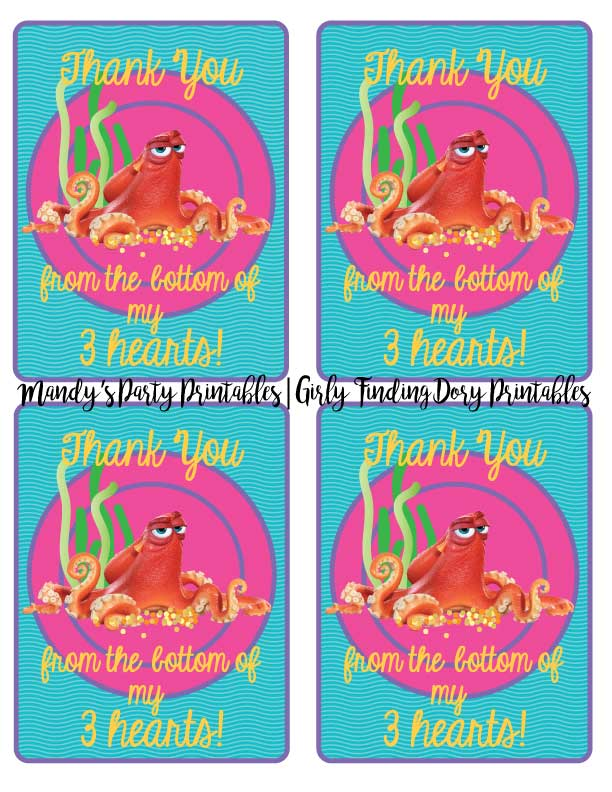 Girly-Finding-Dory-Thank-You-Cards | Mandy's Party Printables