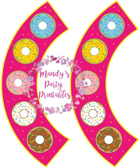 Free Donut Cupcake Wrappers in Pink from Mandy's Party Printables | mandyspartyprintables.com