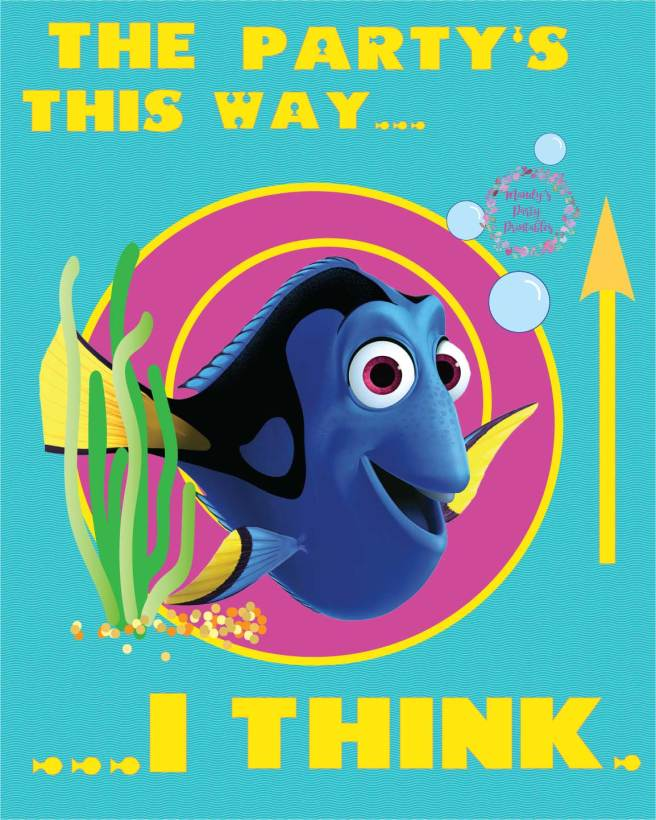 The Party's This Way! I Think... Finding Dory Party Sign via Mandy's Party Printables
