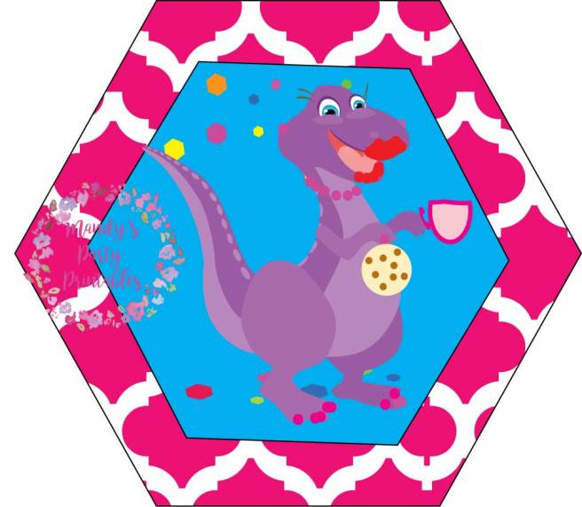 Girly Dinosaur Cupcake Toppers from Tea Rex T-Party at Mandy's Party Printables