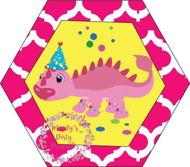 Pink Girly Dinosaur Cupcake Toppers from Tea Rex T-Party at Mandy's Party Printables