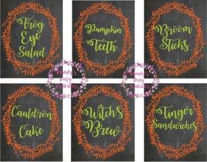 Creative Food Signs from Halloween Witches Tea Party via Mandy's Party Printables