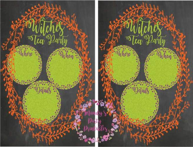 Witches Tea Party Invitation for Your Halloween Party via Mandy's Party Printables