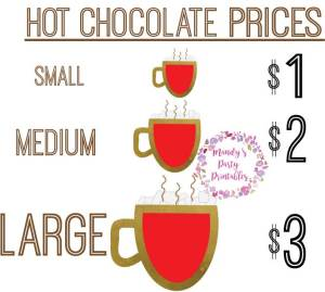 Free Hot Chocolate Stand Printables Prices via Mandy's Party Printables