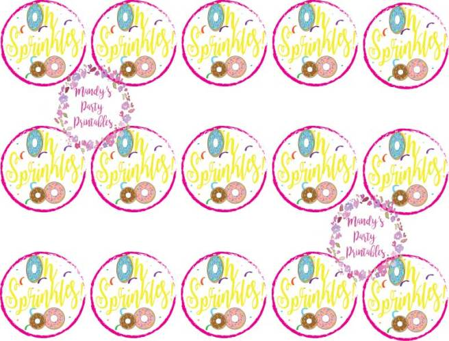 Sprinkles Donut Toppers for Cupcake or Donuts via Mandy's Party Printables