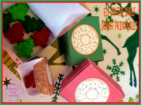 Elf on the Shelf Printable Donut Boxes for your elf on the shelf ideas via Mandy's Party Printables