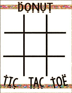 Printable Donut Tic Tac Toe Board via Mandy's Party Printables