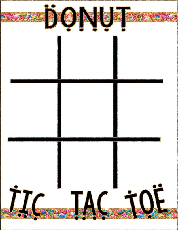 Donut Party Game Tic Tac Toe  Mandys Party Printables