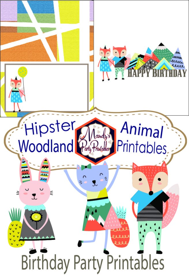Hipster Woodland Animal Birthday Printables via Mandy's Party Printables