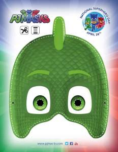 PJ Masks Party Printables Gekko Mask for FREE via Kara's Party Ideas via Mandy's Party Printables