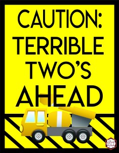 Caution: Terrible Two's Ahead Construction Birthday Party Printables via Mandy's Party Printables