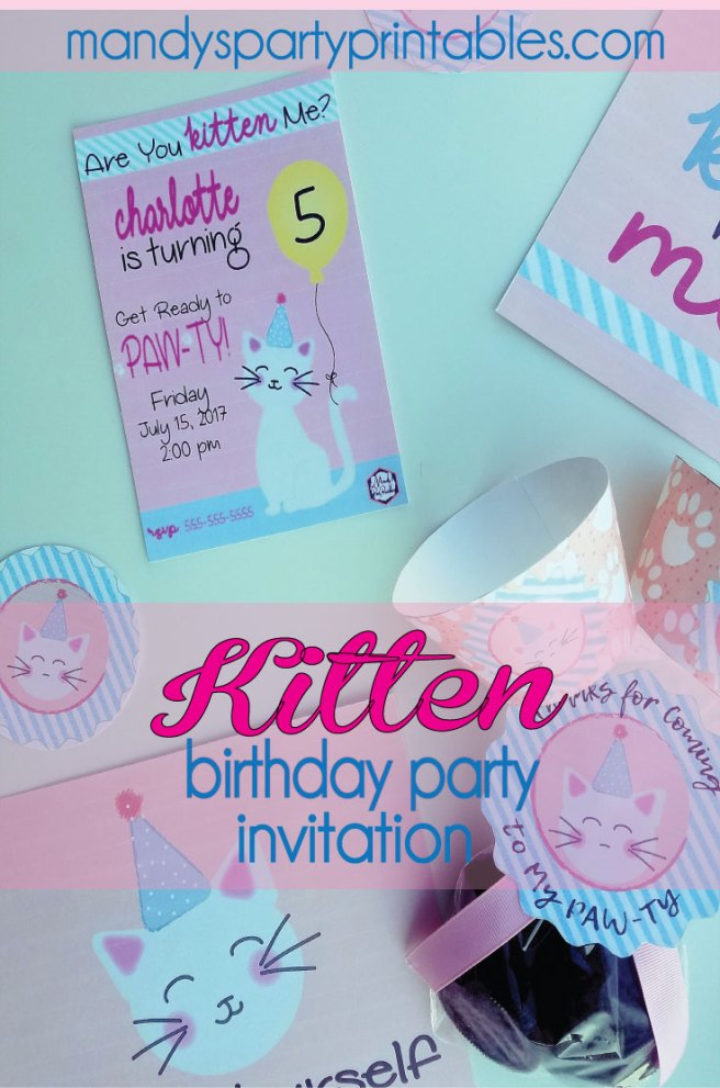 Kitty Cat Birthday Party Printables via Mandy's Party Printables