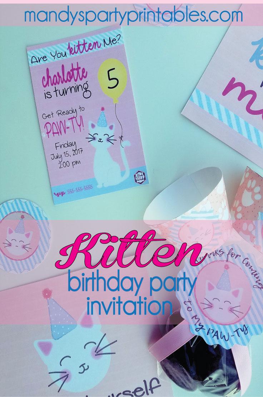 Free kitten birthday party printables kitty cat birthday party printables via mandys party printables filmwisefo
