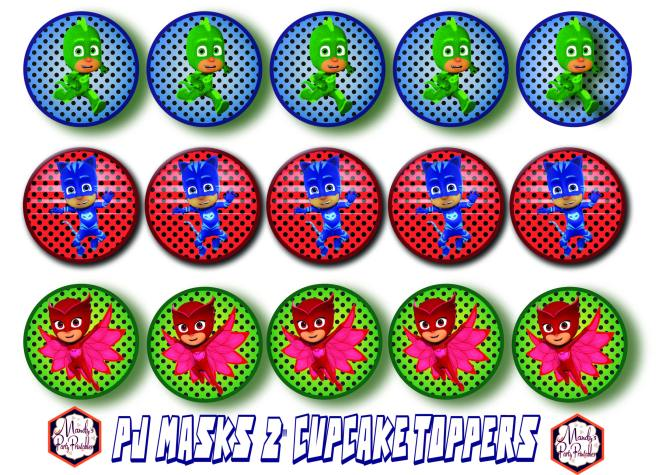 Cupcake Toppers from Free PJ Masks Birthday Party Printables via Mandy's Party Printables