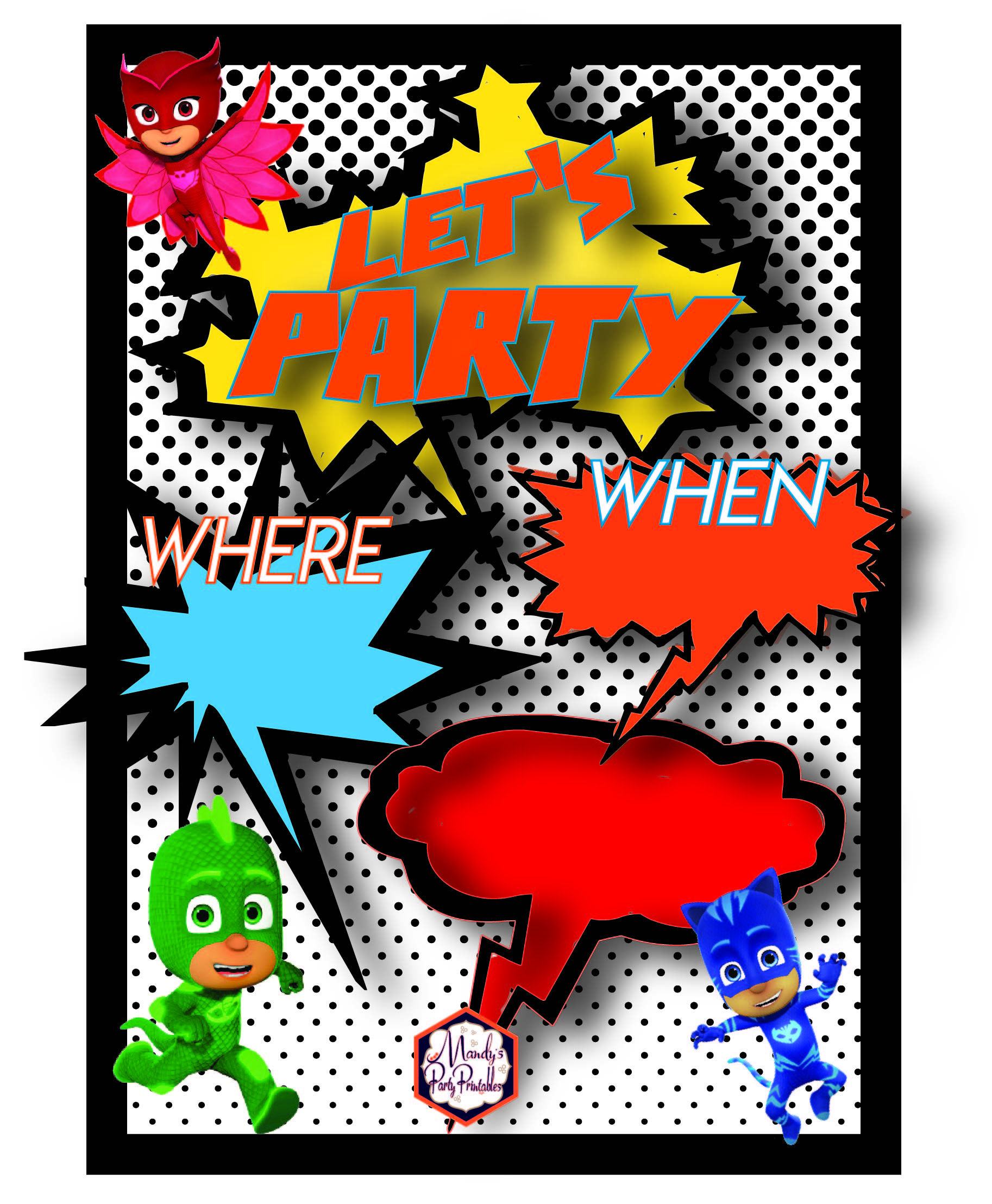 Free PJ Masks Birthday Party Printables