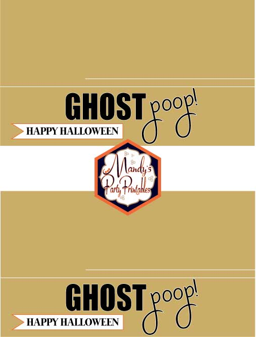 Ghost Poop Halloween Treatbag Toppers via Mandy's Party Printables