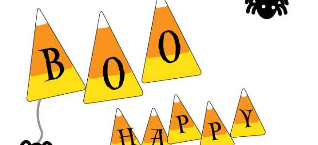 Free Candy Corn Alphabet Banner via Mandy's Party Printables