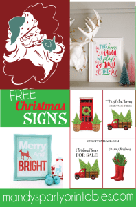 Free Christmas Printable Signs   Santa Sign   Farmhouse Christmas   Christmas Decor   Mandy's Party Printables #christmas2017 #christmasdecor #christmasprintables #christmassigns