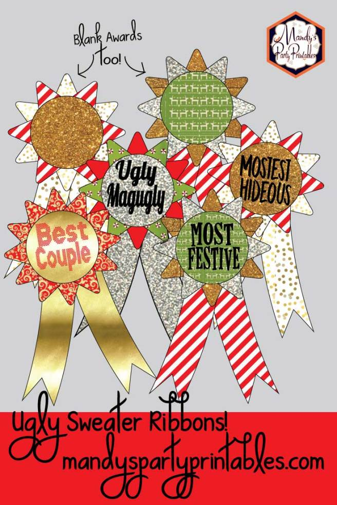 Award Ribbons from Ugly Sweater Christmas Party Printables via Mandy's Party Printables
