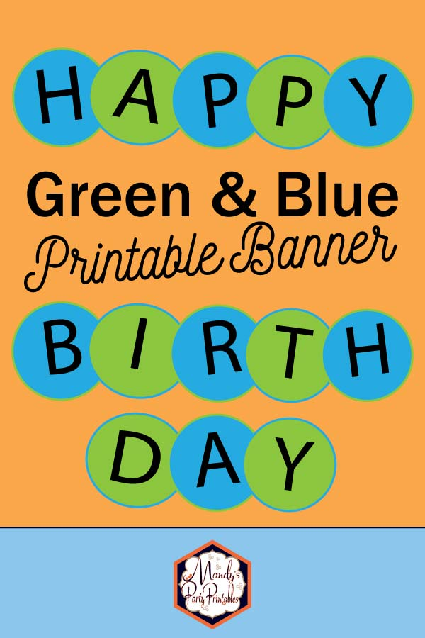 Blue and Green Circle Happy Birthday Banner