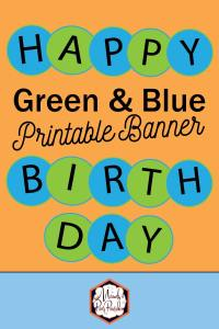 Green and Blue Circle Happy Birthday Free Printable Banner | Mandy's Party Printables | #circlebanner #bluebanner #greenbanner #birthdaybanner #partydecor