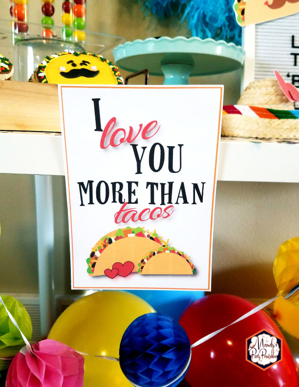 I Love You More than Tacos 5x7 sign from a Taco Bout Love Valentine Taco Party | Mandy's Party Printables #valentineparty #tacoparty #tacoboutlove #ilovetacos #MPP #fiesta