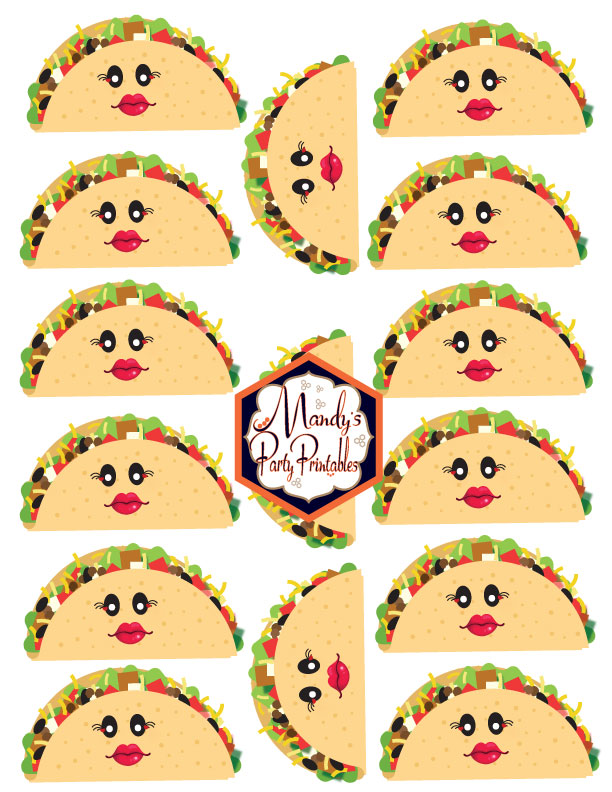 Taco Printables with Lips and Face from a Taco Bout Love Valentine Taco Party | Mandy's Party Printables #valentineparty #tacoparty #tacoboutlove #ilovetacos #MPP #fiesta
