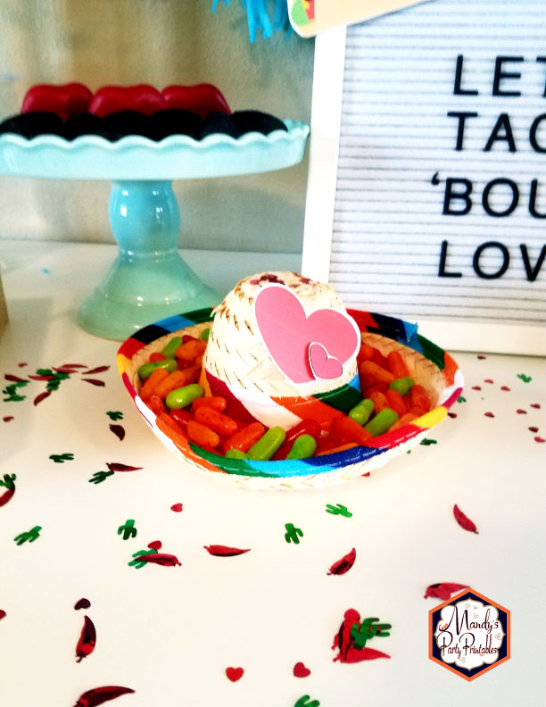 Candy-filled mini sombrero from a Taco Bout Love Valentine Taco Party | Mandy's Party Printables #valentineparty #tacoparty #tacoboutlove #ilovetacos #MPP #fiesta