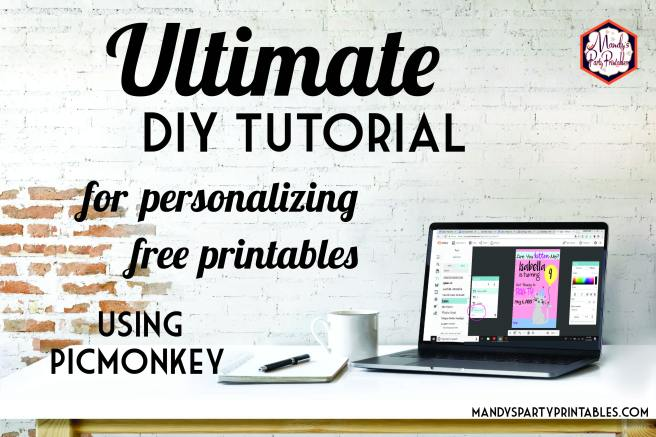 """White desk with laptop, notebook, and coffee against a white washed brick wall with the words """"Ultimate DIY Tutorial for personalizing free printables using PicMonkey 